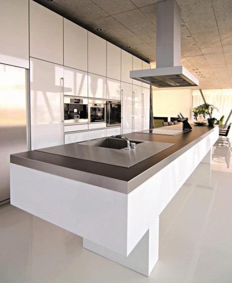 big white kitchen island stainless steel