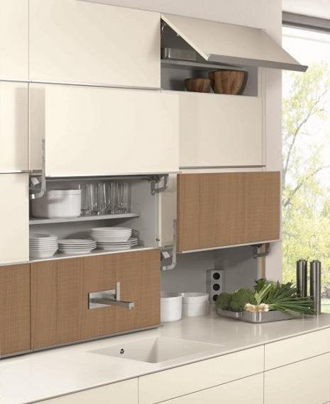 concept 40, handless kitchen, cream, wood