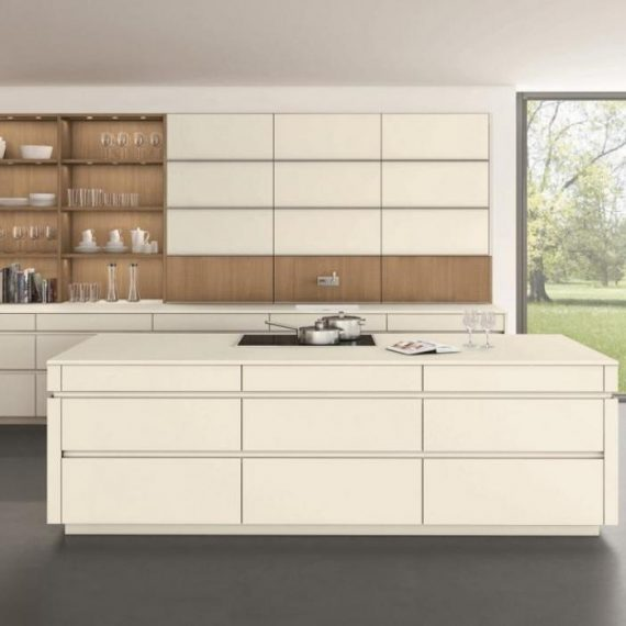 concept 40, handless kitchen, cream, wood, island