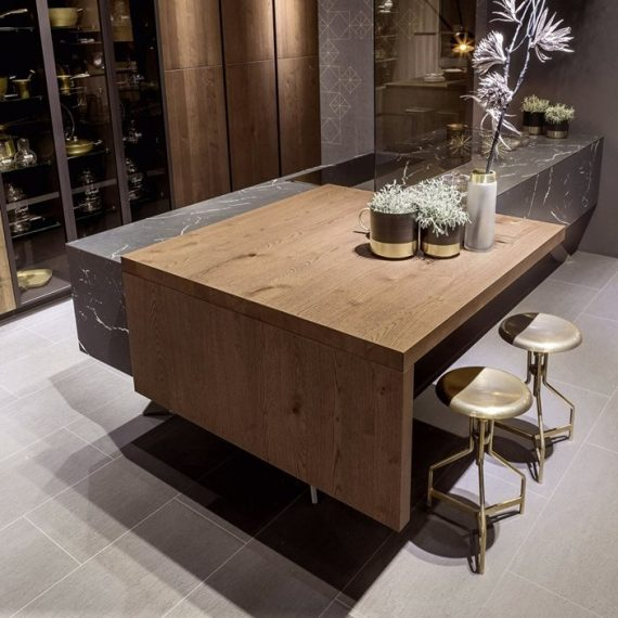 wood, nero marquina, sliding worktop table